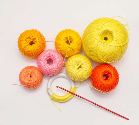 a set of colored threads for embroidery with crochet
