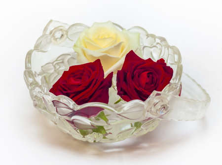 full bodied: One white and two red roses in a glass vase on a white background Stock Photo