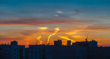 ural: Sunset over city Stock Photo