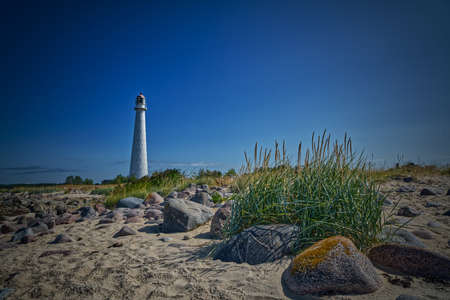 Tahkuna Lighthouse with dune grass in HDR
