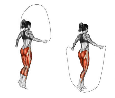 marked: Jumping rope. Exercising for Fitness. Target muscles are marked in red. Initial and final steps. 3D illustration