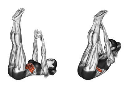 Flexion of the body with a compound of the hands and feet. Exercising for Fitness. Target muscles are marked in red. Initial and final steps. 3D illustration Stock Photo