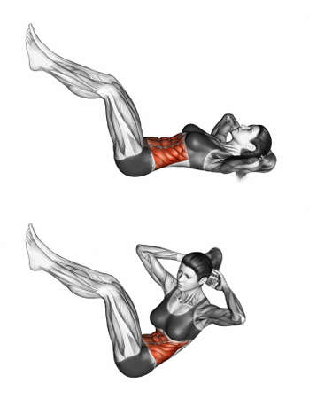 marked: Collapsing on the floor of the trunk. Exercising for bodybuilding Target muscles are marked in red. 3D illustration