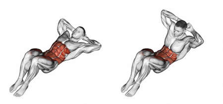 marked: Climbs the trunk. Exercising for bodybuilding. Target muscles are marked in red. Initial and final steps. 3D illustration Stock Photo