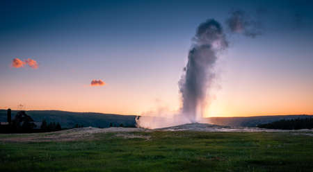 HDR shot of old faithful during sunset.