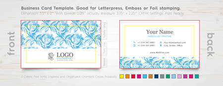 specially: Personal Business Card Design Template. Engraved Rose.  Specially for Foil Stamping, Letterpress or Emboss. The color of the business card.
