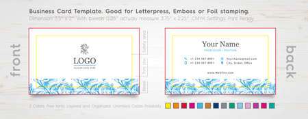 specially: Clean Business Card Design Template. Engraved Rose.  Specially for Foil Stamping, Letterpress or Emboss. The color of the business card. Illustration