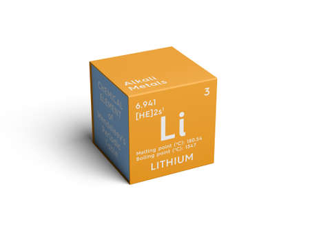 Lithium. Alkali metals. Chemical Element of Mendeleevs Periodic Table. Lithium in square cube creative concept.