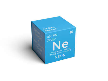 Neon. Noble gases. Chemical Element of Mendeleevs Periodic Table. Neon in a square cube creative concept.