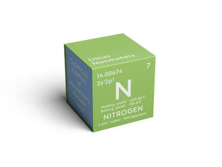 Nitrogen. Other Nonmetals. Chemical Element of Mendeleevs Periodic Table. Nitrogen in a square cube creative concept. Stock Photo