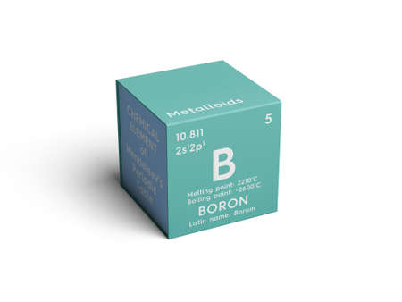 Boron. Metalloids. Chemical Element of Mendeleevs Periodic Table. Boron in square cube creative concept.