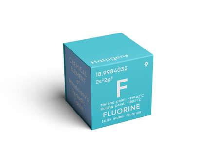 Fluor. Halogenen. Chemisch element van het periodiek systeem van Mendelejev. Fluor in een vierkant kubus creatief concept.