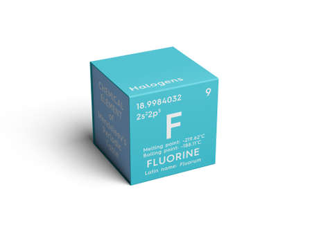 Fluorine. Halogens. Chemical Element of Mendeleevs Periodic Table. Fluorine in a square cube creative concept.