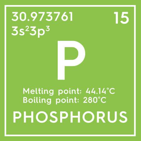 Fosfor. Andere niet-metalen. Chemisch element van het periodiek systeem van Mendelejev. Fosfor in een vierkant kubus creatief concept. Stockfoto