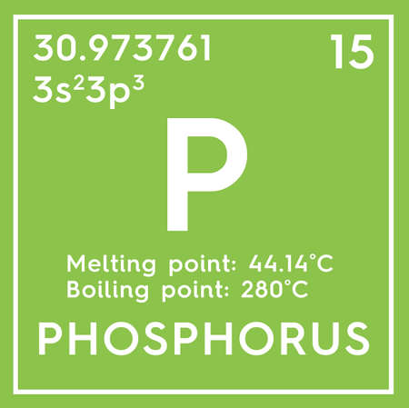 Phosphorus. Other Nonmetals. Chemical Element of Mendeleevs Periodic Table. Phosphorus in a square cube creative concept.