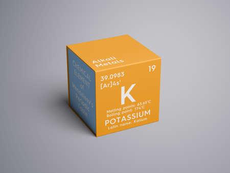 Potassium. Kalium. Alkali metals. Chemical Element of Mendeleevs Periodic Table.