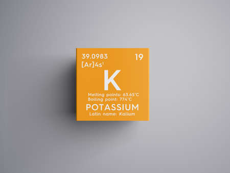 Potassium. Kalium. Alkali metals. Chemical Element of Mendeleev's Periodic Table. Stock Photo - 81595546