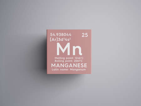 Manganese. Manganum. Transition metals. Chemical Element of Mendeleevs Periodic Table. Manganese in a square cube creative concept. Stock Photo