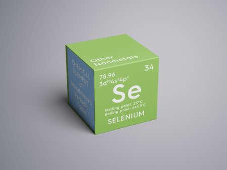 Selenium. Andere niet-metalen. Chemisch element van het periodiek systeem van Mendelejev. Selenium in een vierkant kubus creatief concept. Stockfoto