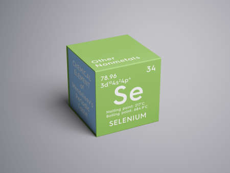 Selenium. Other Nonmetals. Chemical Element of Mendeleevs Periodic Table. Selenium in a square cube creative concept.