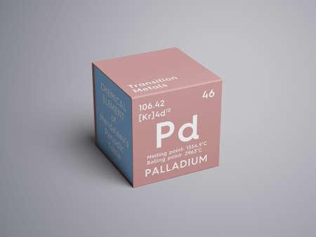 Palladium. Transition metals. Chemical Element of Mendeleevs Periodic Table. Palladium in a square cube creative concept.