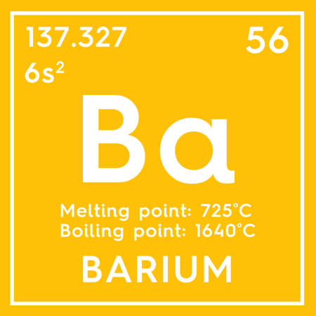 Barium. Alkaline earth metals. Chemical Element of Mendeleevs Periodic Table. Barium in square cube creative concept. Stock Photo