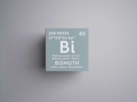 bismuth: Bismuth. Bishmuthum. Post-transition metals. Chemical Element of Mendeleevs Periodic Table. Bismuth in a square cube creative concept.