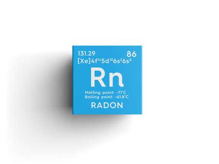 Radon. Edele gassen Chemisch Element van Mendeleev's Periodieke Tabel. Radon in een vierkante kubus creatief concept.