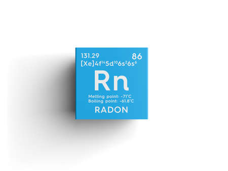 Radon. Noble gases. Chemical Element of Mendeleevs Periodic Table. Radon in a square cube creative concept.