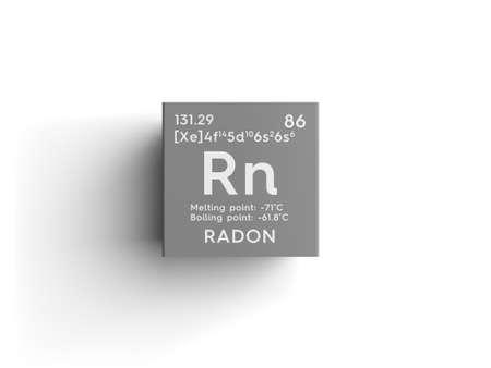 ラドン。希ガス。メンデレーエフの周期表の元素です。ラドンの広場キューブ創造的な概念。 写真素材