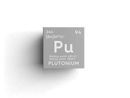 plutonium: Plutonium. Actinoids. Chemical Element of Mendeleevs Periodic Table. Plutonium in a square cube creative concept.
