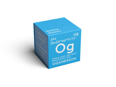 Oganesson. Noble gases. Chemical Element of Mendeleevs Periodic Table. Oganesson in square cube creative concept. Reklamní fotografie