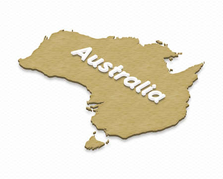 Illustration of a sand ground map of Australia on grid background. Left 3D isometric projection with the name of continent. Stock Photo