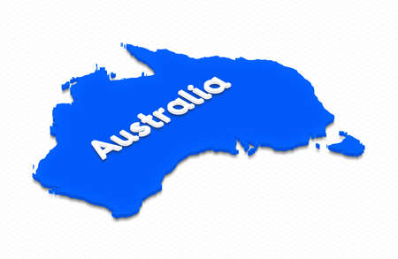 Illustration of a blue ground map of Australia on grid background. Right 3D isometric projection with the name of continent.