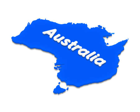 Illustration of a blue ground map of Australia on isolated background. Left 3D isometric projection with the name of continent.