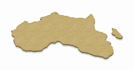 grid background: Illustration of a sand ground map of Africa on grid background. Right 3D isometric projection.