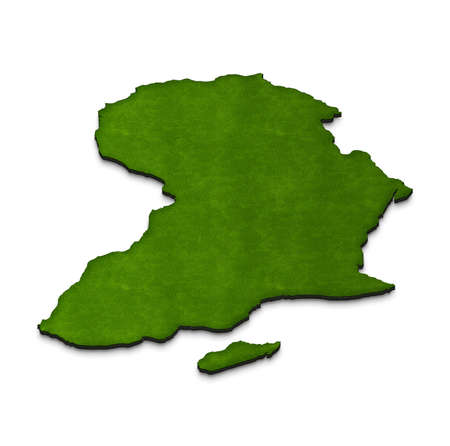 Illustration green ground map of Africa on  isolated background. Left 3D isometric projection.