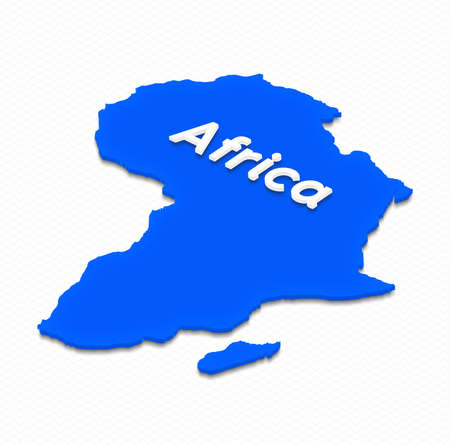 grid background: Illustration of a blue ground map of Africa on grid background. Left 3D isometric projection with the name of continent.
