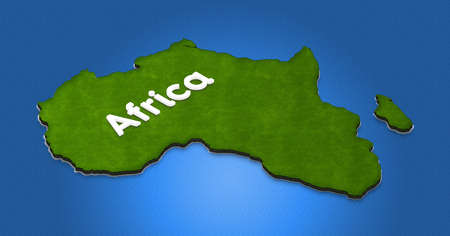 continente africano: Illustration of a  green ground map of Africa on water background. Right 3D isometric projection with the name of continent.