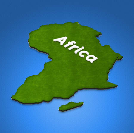 Illustration of a green ground map of Africa on water background. Left 3D isometric projection with the name of continent.