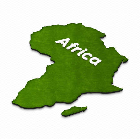 Illustration of a green ground map of Africa on grid background. Left 3D isometric projection with the name of continent.