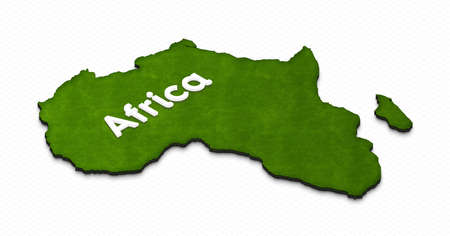 Illustration of a green ground map of Africa on grid background. Right 3D isometric projection with the name of continent.