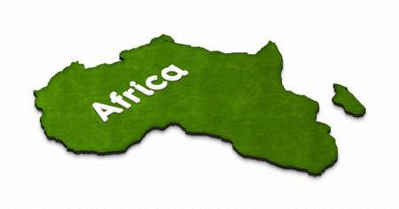 Ilustración de un mapa de tierra verde de África sobre fondo de cuadrícula. Proyección isométrica 3D correcta con el nombre de continente.