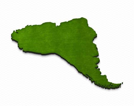 Ilustración de un mapa de tierra verde de Suramérica en fondo de la red. Proyección isométrica en 3D derecha.