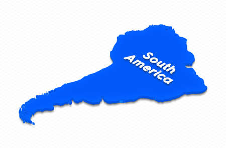 Illustration of a blue ground map of South America on grid background. Left 3D isometric projection with the name of continent.