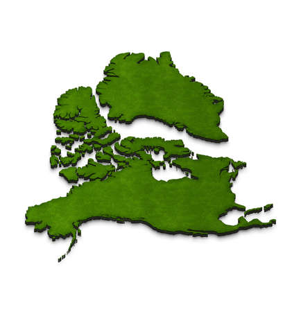 Illustration of a green ground map of North America on isolated background. Right 3D isometric projection. Stock Photo