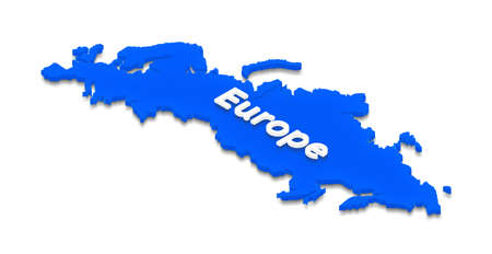 Illustration of a blue ground map of Europe on grid background. Left 3D isometric projection. Stock Photo