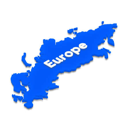 Illustration of a blue ground map of Europe on isolated background. Right 3D isometric projection.