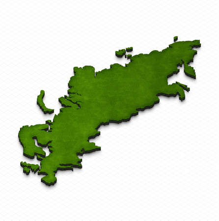 Illustration of a green ground map of Europe on isolated background. Right 3D isometric projection.