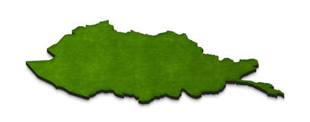 Illustration of a green ground map of Afghanistan on isolated background. Left 3D isometric perspective projection.